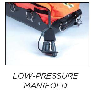 Low Pressure Manifold has both male and female quick connect fittings