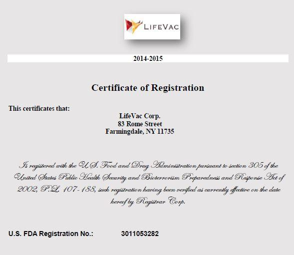 LifeVac FDA Registration