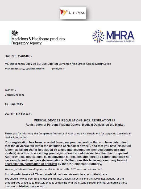 LifeVac MHRA Approval